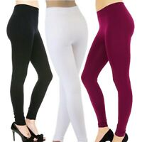 Winter Womens FLEECE LINED Thermal THICK Solid  FOOTLESS Leggings Warm- 3 Pack