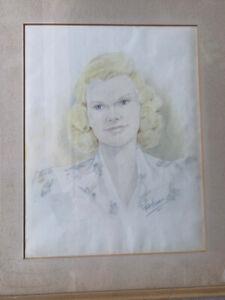 Original Art Vintage 1945 Blonde Woman Colored Pencil Drawing  Signed Framed