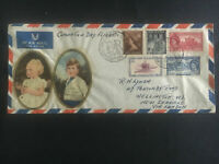 1953 New Zealand First Day Cover QE II Queen Elizabeth coronation Flight to UK