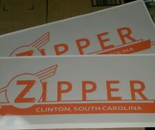 Zipper Clinton SC Vintage Travel Trailer decals orange, red & gray set of 2 17""