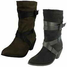 Women's Mid-Calf Block Zip Synthetic Boots