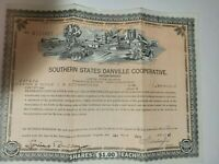 Vintage Southern States Danville Virginia Preferred Stock Certificate 1947