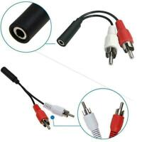 New 3.5mm Audio Jack Female To 2 x Phono RCA Male Stereo Connector Lead Cab J3B6