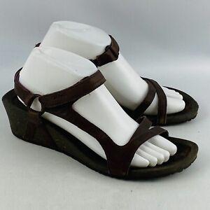 "Womens 10 Teva Cabrillo Universal Wedge Sandals Brown Leather Heel Strap 2"" Heel"