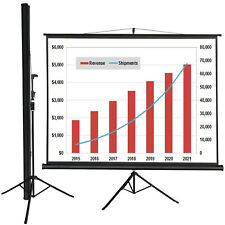 """100"""" Tripod Stand Portable Projection Screen Square 82x66 Home Office Hd"""