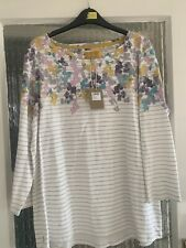 JOULES «HARBOURPRINT» COTTON 3/4 SLEEVE TOP SIZE 18 BNWT