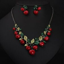 1Set Women Fashion Cherry Necklace Earrings Bridal Resin Charm Jewelry Gift Sets