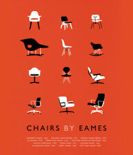 """6"""" x 5"""" Print - Chairs by Eames Poster in Orange (Picture Bertoia Knoll Artwork)"""