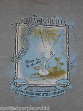 Mens JOE MARLIN Fairway to Heaven Golf Under Par to the Bar Martini Gray Shirt~L