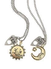 Ouija Board Sun Moon Bestie BFF 2 PK Silver Gold Tone Pendant Necklace Set NEW