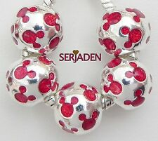 5 Mickey Red Face Round Charms Fits European Jewelry 11 * 12 mm & 5 mm Hole S229