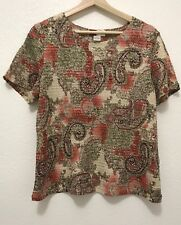 JM Collection, Women Short Sleeve Pink Green Paisley Textured Blouse Top, Large