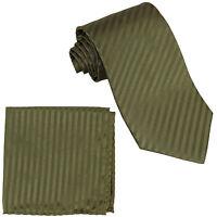 New Polyester Woven Men's Neck Tie necktie & hankie Stripes Olive green formal