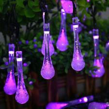 Water Drop Solar Fairy String Light Outdoor Garden X'mas Tree Decor Purple