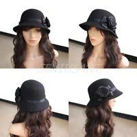 Black Women Ladies Vintage Elegant Cloche Flower Rose Bucket Hat Headwear Cap