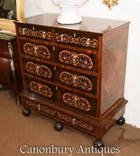 Mahogany Queen Anne Chest Drawers Commode Marquetry Inlay