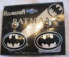 BATMAN EARRINGS ROSECRAFT MARKED COMICS VINTAGE 1991 PIERCED POST DANGLE METAL