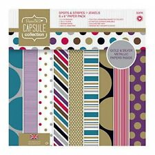 PAPERMANIA CAPSULE SPOTS AND STRIPES JEWELS  - SAMPLE PACKS 16 X  6 x 6 PAPERS -