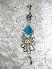 BABY BLUE CATS EYE DROPLET & SWIRLS DANGLING BOLLYWOOD CZ BELLY BUTTON RING