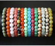 Wholesale Lot* 25 Round GEMSTONE Bead Crystal Healing 7 inches Stretch Bracelets