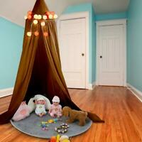 Colors Round Dome Hanging Bed Canopy Mosquito Net Curtain for Baby Kids (Yellow)