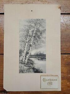 "1912 Antique Calendar, Ash Trees by a River Plate by J.J. Francis 9""x6"""