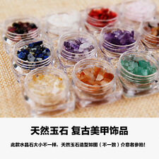 12 Pot Crystal Jade Stone For UV Gel Acrylic Nail Art Rhinestone Tips Decoration