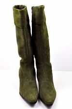 Tall Suede Boots Leather Worthington Olive Green 7.5 M Knee High Heel Zip Shoes