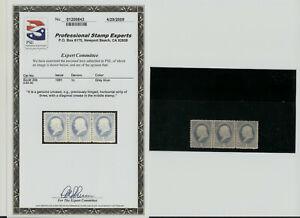 1881 US Stamp Scott 206 1 cent  3 Strip. GRAY BLUE. UNUSED. PSE