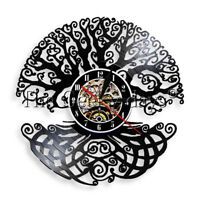 Tree of Life Vinyl Record Clock Sacred Tree Wall Clock Green Life Decor Watch