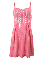 Kensie Womens 8 Eyelet Sweetheart Dress Pink White Short Sleeveless Mini