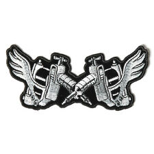 Embroidered Tattoo Guns Wings Iron on Sew on Biker Patch Badge