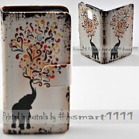 For LG Series - Elephant Swirl Theme Print Wallet Mobile Phone Case Cover