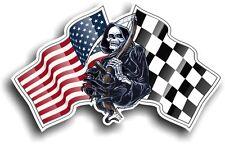 Death The GRIM REAPER & Racing American Stars & Stripes Flag vinyl car sticker