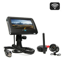 """Wireless Backup Camera Cigarette Lighter Plug Suction Cup 4.3"""" Monitor 130° View"""