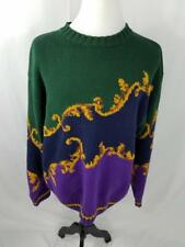 VTG Tommy Hilfiger Mens L Green Purple Sweater Knit Big Flag Logo Tag Ugly