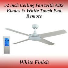Genesis 52 inch White Ceiling Fan with ABS Blades White Touch Pad Remote
