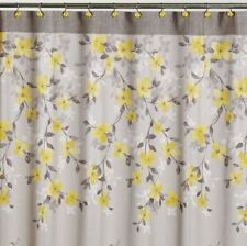 NEW - Saturday Knight Spring Garden Gray and Yellow Floral Fabric Shower Curtain