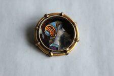 Broche médaillon broche ancienne en émail de Limoges, plaquée or diamètre 3 cm