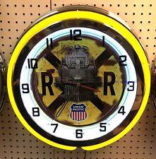 """18"""" Union Pacific Railroad Crossing Sign Double Neon Clock Rail Road"""