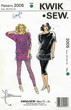 1980's VTG Kwik Sew Misses' Leggings & Tops Pattern 2005 Size XS-XL UNCUT