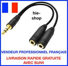 Câble Audio Noir Splitter Jack Mâle Vers Double Jack Femelle 3.5mm Noir Neuf //