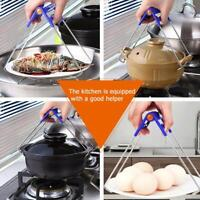 Foldable Anti-Hot Clamp Gripper Kitchen Tool Bowl Clip Pot Dishes Holder Steamer