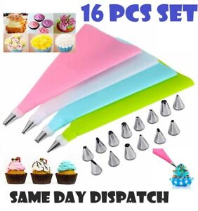 16Pc REUSABLE PASTRY BAG Nozzle SILICONE Icing Piping Cream Cake Decorating Tool