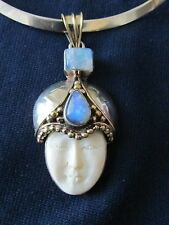 Sterling Silver Goddess Face Pendant Blue Stones Sterling Collar Necklace