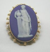 Victorian 9ct Gold Mounted Wedgwood Jasper Ware Plaque Brooch