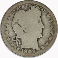 1902-S Silver Barber Quarter Raw Circulated US Coin