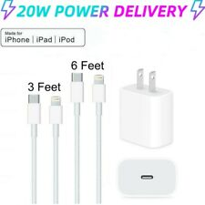 20W USB-C 6ft PD Cable Option Fast Wall Charger For iPhone 12 11 Pro Max XR XS