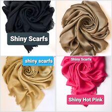 Silky shinny  Scarves Women Scarf Solid Foulard Femme Shawls Wraps  Head Scarfs