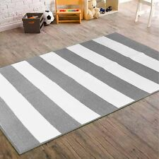 "Mainstays Kids Rugby Stripe Rug, Grey/White 40"" x 56"""